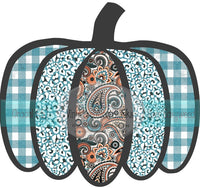 Turquoise Mimosa Plaid, Paisley, and Leopard Pumpkin HTV or Sublimation Transfer