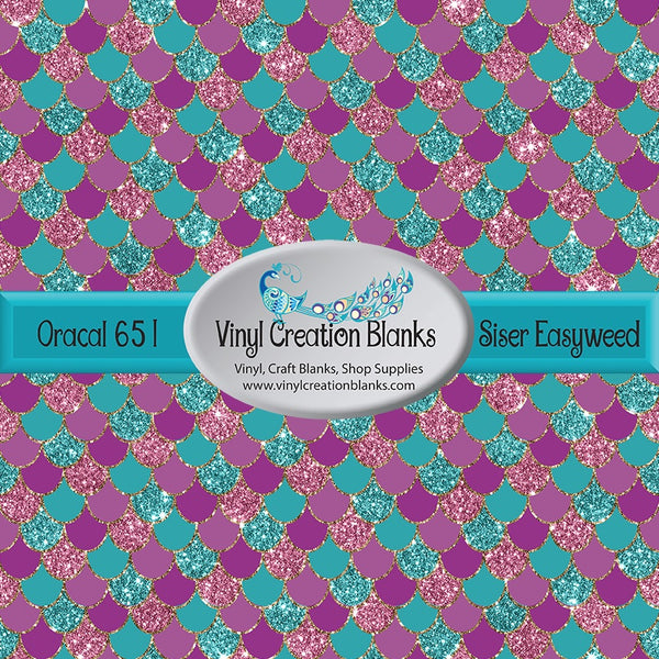 Turquoise and Orchid Faux Glitter Mermaid Scales Permanent Vinyl or Heat Transfer Vinyl