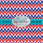Red White Silver and Blue Chevron Pattern Permanent Outdoor Vinyl or Heat Transfer Iron On Vinyl for All Vinyl Cutters