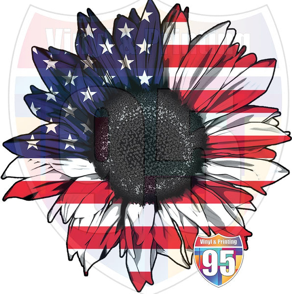 US Flag Sunflower Heat(Iron On) Transfer or Sublimation Transfer