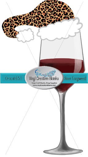 Wine Glass with Leopard Santa Hat HTV or Sublimation Transfer