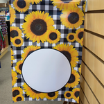 Many Sunflowers Buffalo Plaid with Monogram Disk Garden Flag