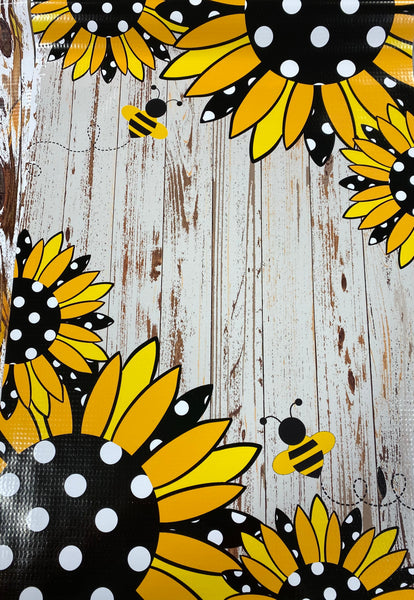 Polka Dot Sunflowers and Bees on Weathered Wood Garden Flag