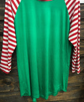 Candy Cane Stripe Sleeve Raglan
