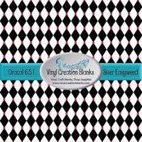 Black with Red Harlequin Pattern Vinyl
