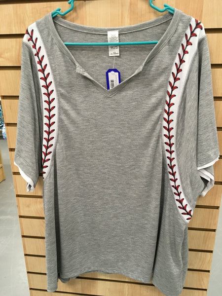 Baseball Stripe Short Sleeved Shirt