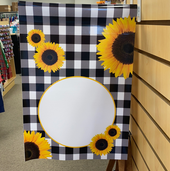 Sunflower Buffalo Plaid with Monogram Disk Garden Flag