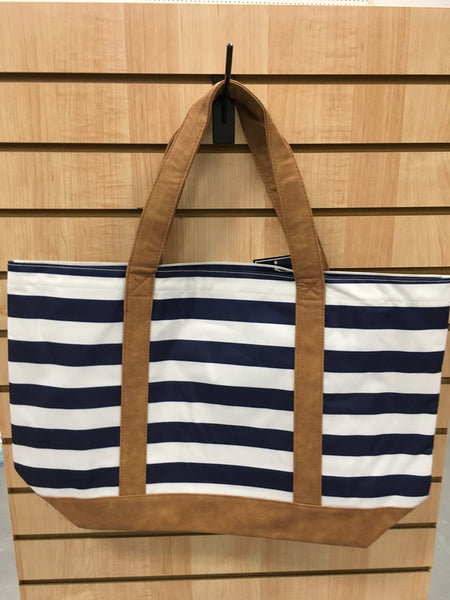 WB Canvas Tote Bag with Faux Leather