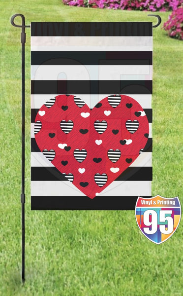 Red Heart on Black Stripes Garden Flag