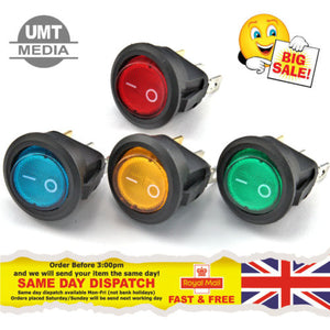12V Round Rocker 16A LED 20mm ON/OFF SPST Switch Red Yellow/Orange Green Blue