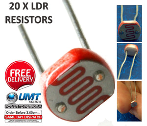 20 x LDR Light Dependent Resistors 5mm Photoresistor G5528 Arduino Raspberry PI