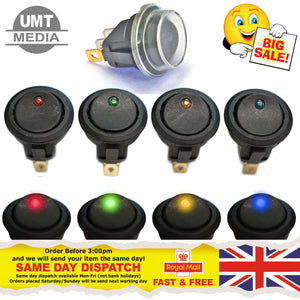12V Round Rocker Switch – RED Green Amber Blue Black Car Van Dash Boat ON/OFF