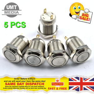 5 PCS - 12mm Round Metal Push Button Switch Momentary Power Reset
