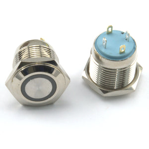 12V/24V Momentary Push Button Switch -  Round Aluminium Metal 3A Power LED