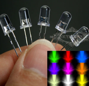 Ultra Bright LEDs 3mm/5mm Red/Blue/Green/White/Yellow Lamp Emitting Diode