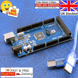 Arduino Mega 2560 R3 ATmega328P 16U2-MU Compatible Board FREE USB Cable UK
