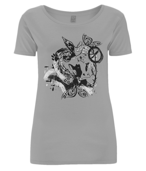 Women's Open Neck T-Shirt Abstract.Vegan