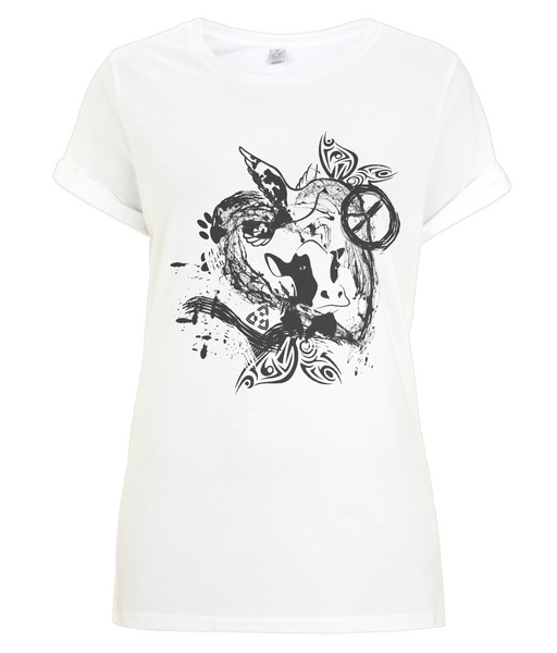 Women's Rolled Sleeve T-Shirt Abstract.Vegan