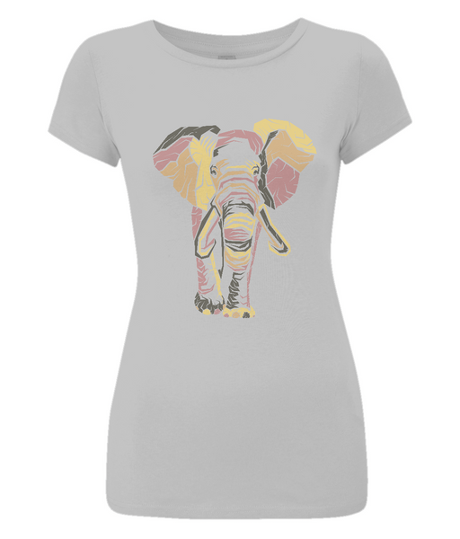 Women's Slim-Fit Jersey T-Shirt Elephant