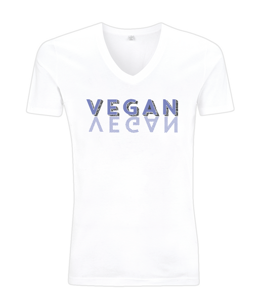 V-Neck Men's T-Shirt VEGAN-BLUE.b