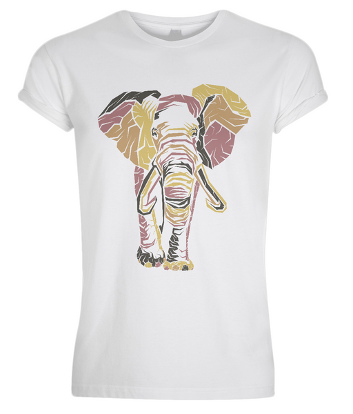 Men's Rolled Sleeve T-Shirt Elephant