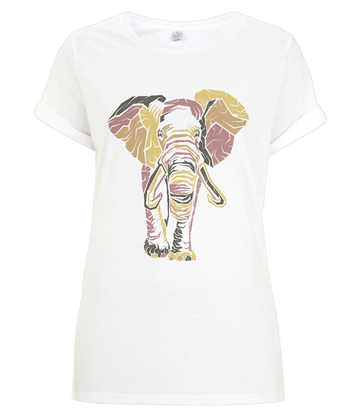Women's Rolled Sleeve T-Shirt Elephant