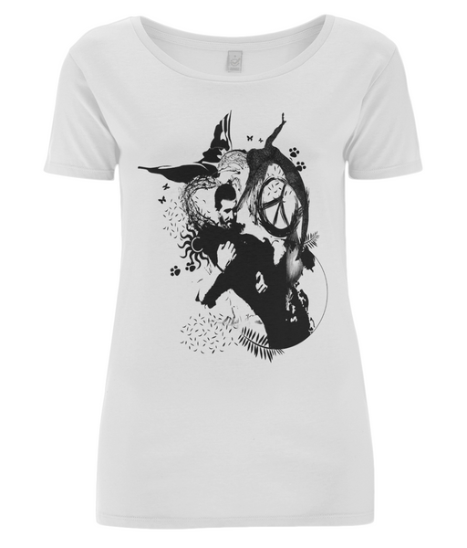 Women's Open Neck T-Shirt Abstract.Vegan.ii