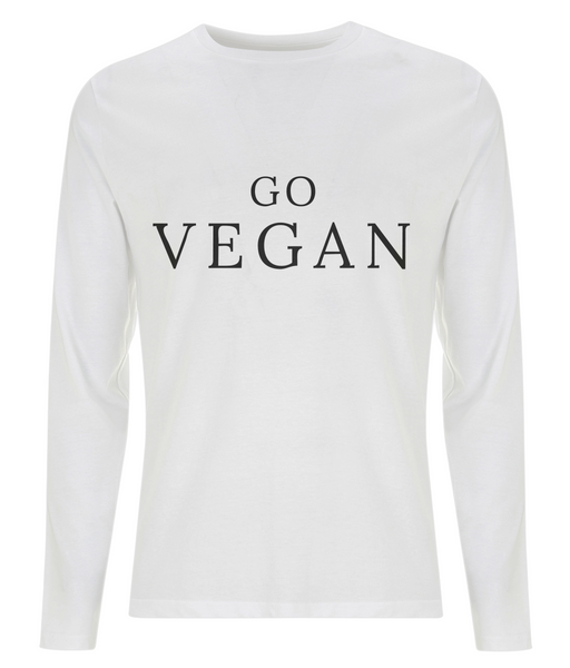 "Men's Long Sleeve T-Shirt ""GO VEGAN"""