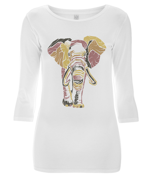 Women's 3/4 Sleeve Stretch T-Shirt Elephant