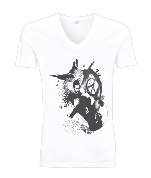 V-Neck Men's T-Shirt Abstract.Vegan.ii