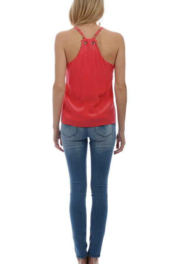 Cut-Out Silk Tank - Coral