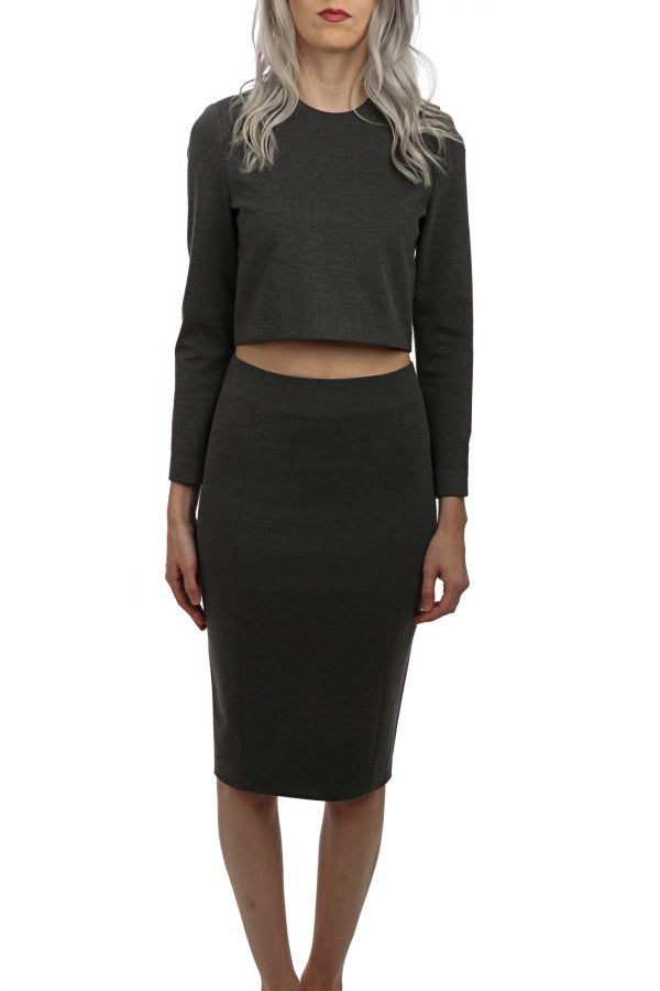 L/S Straight Waist Crop Top - Charcoal