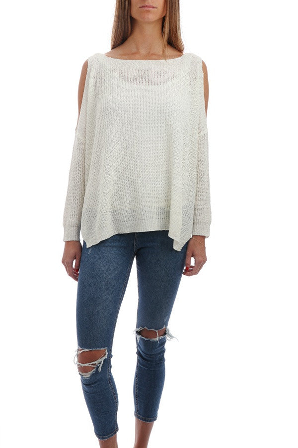 Slouchy Fireside Sweater - White