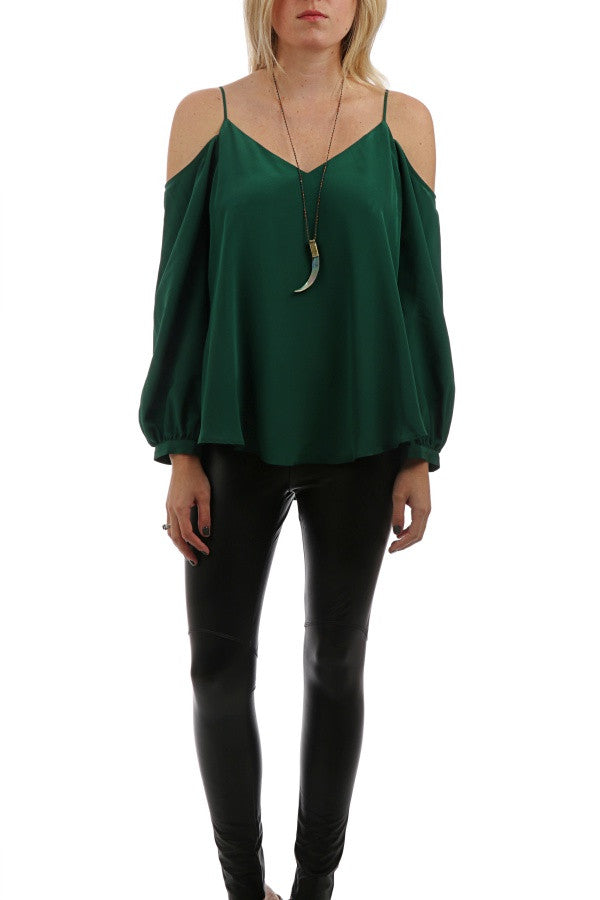 Silk Cold Shoulder L/S Top - Green