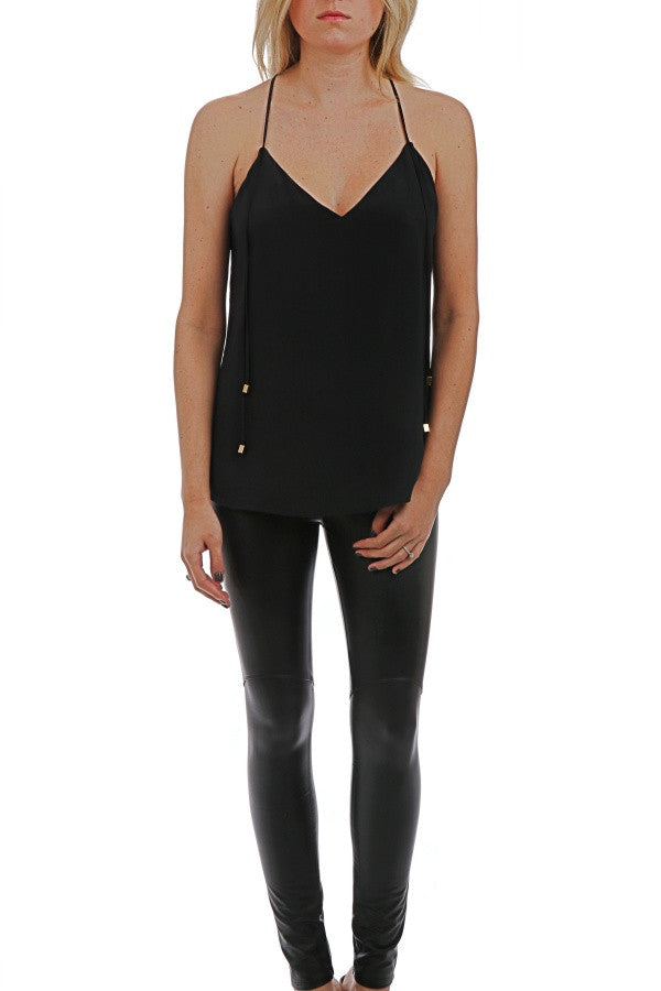 Silk Tank W/ Strings - Black