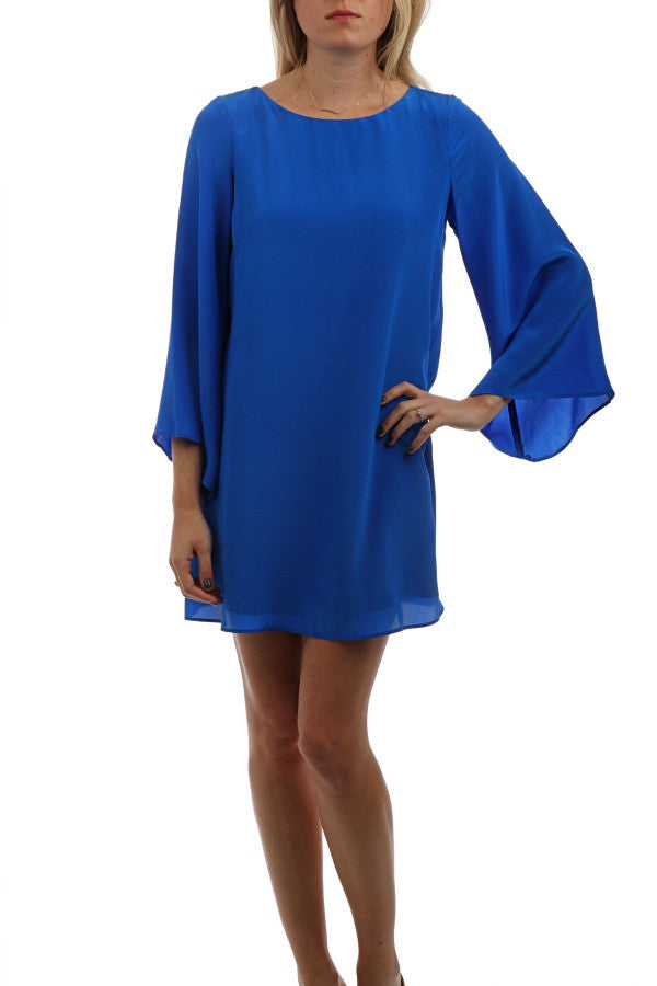 Flare Sleeve Silk Dress