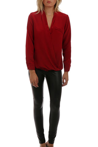 Cold Shoulder Flare Sleeve Top - Red