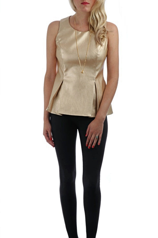 Gold Peplum Faux Leather