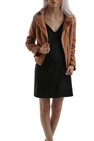 Leather Front Blazer