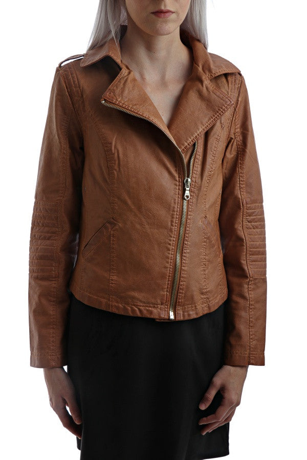 Detail Faux Leather Jacket