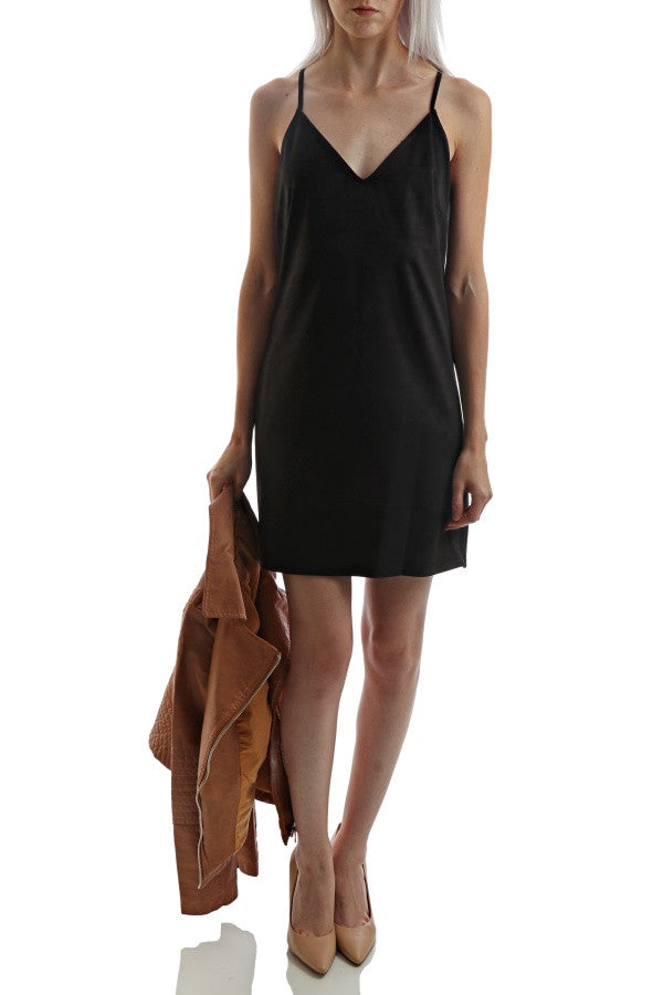 Suede V-Neck Dress