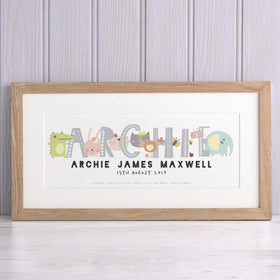 letterfest art Animal Baby Name print