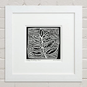 letterfest art Black And White Woodcut Family Tree Print