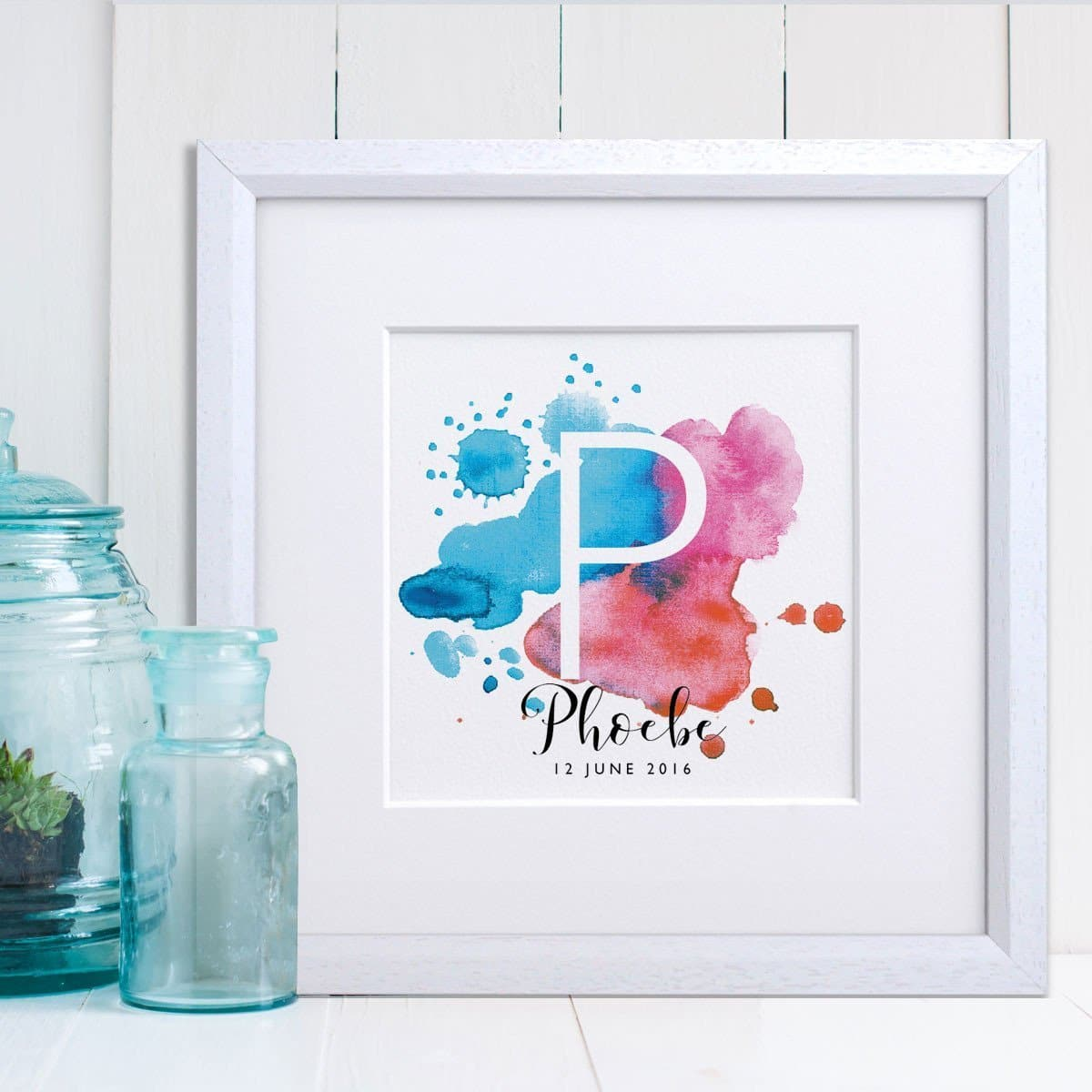letterfest art Boys Watercolour Splash Print
