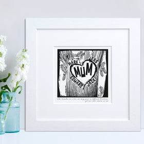 letterfest art Family Woodcut Print