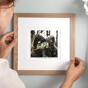 letterfest art Gold Foil Handwritten Photo Print