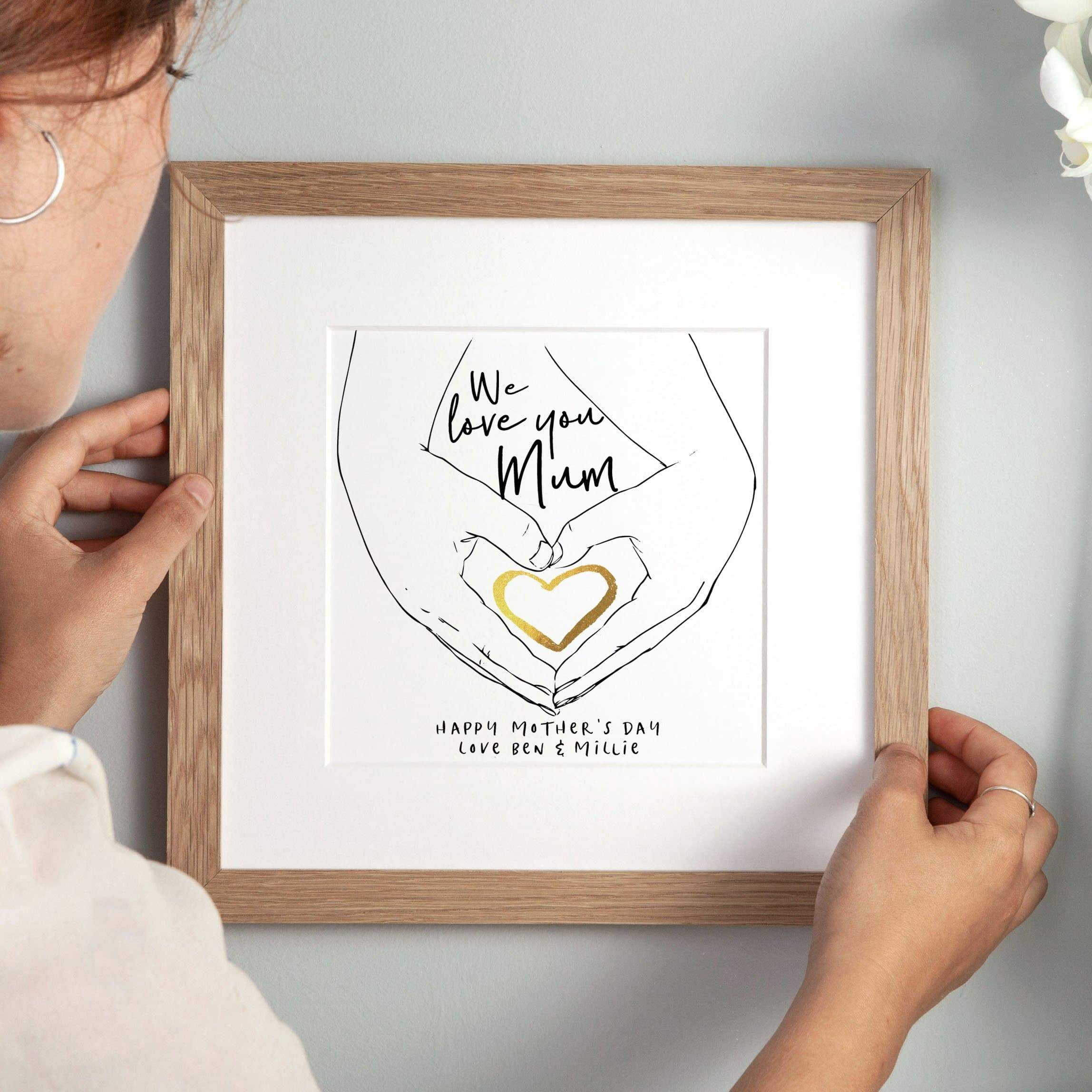 letterfest art Hand Over Heart Personalised Art Print