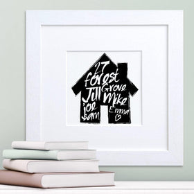 letterfest art Handpainted Family House Print
