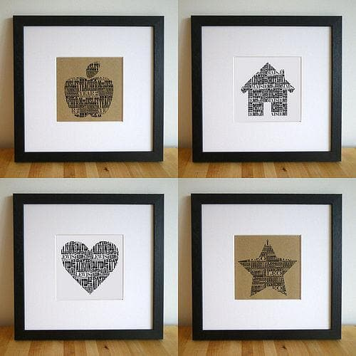 letterfest art Heart Personalised Print