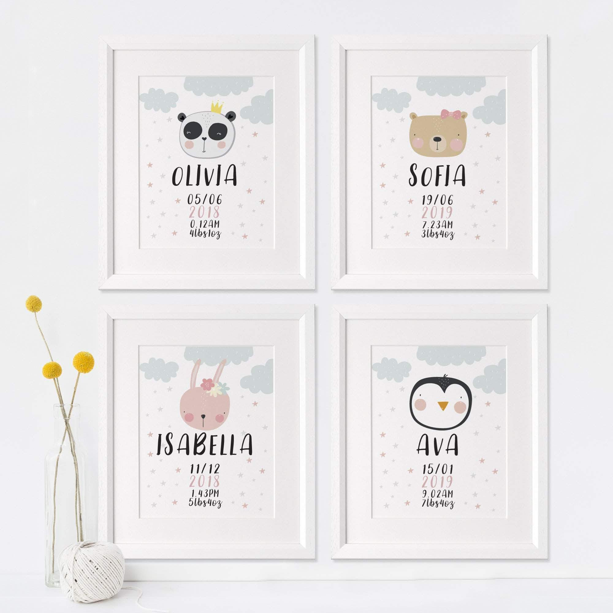 letterfest art Personalised Animal Childrens Print